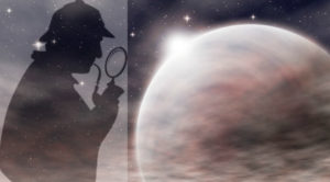 inspector looking at the moon with looking glass