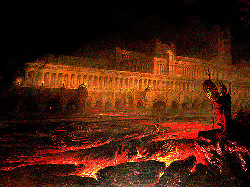 Pandemonium or the capital city of the demons (from 'pan-' for all and 'demon'). It was a name coined by Milton in Paradise Lost.
