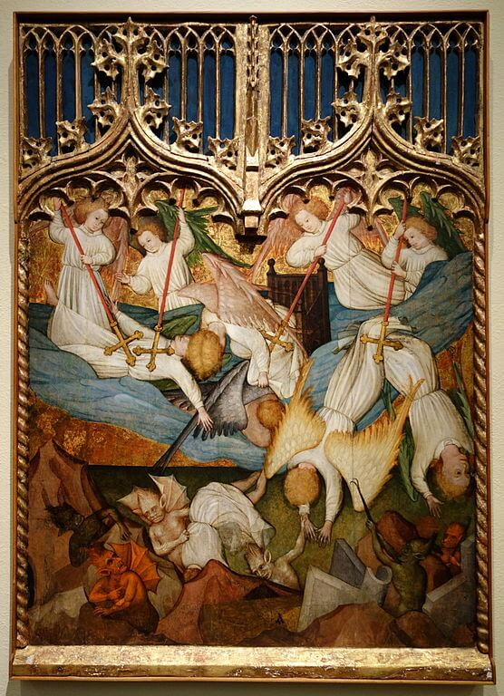 The Fall of the Angels by Nicolas Frances, Spain, c. 1440, tempera on panel - Cincinnati Art Museum.